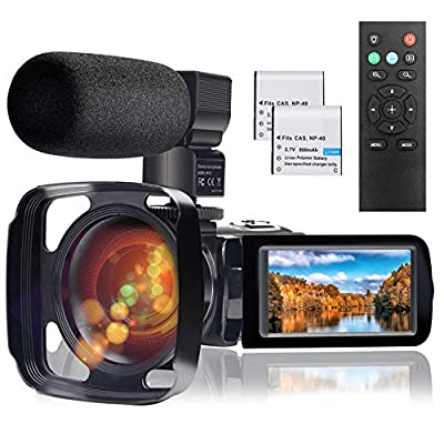 Video Camera Camcorder with Microphone, Full HD 1080P 24MP 30FPS FamBrow Digital YouTube Vlogging Camera Recorder Night Vision 3.0 Inch 270 Degree Rotation LCD 16X Digital Zoom Camcorders, 2 Batteries by FamBrow