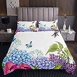 Copriletto trapuntato con stampa floreale, farfalla e libellula per bambini e bambine, per camera da letto lilla, viola, ortensia, leggero, trapuntato,