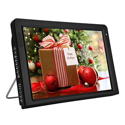 Richer-R TV Portátil,12.1 Inch Televisor Digital,TFT-LED HDTV Recargable,Televisión de Color por Cable para Interior/Exterior.Apoyo USB/Tarjeta TF/SD