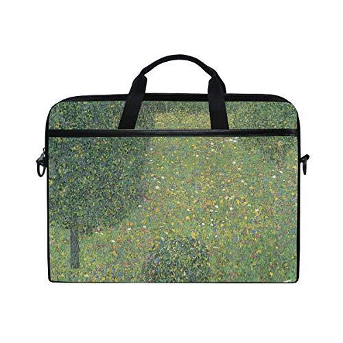 Ahomy 13.3-14 Inch Laptop Bag, Garden Landscape By Gustav Klimt Multifunctional Fabric Waterproof Laptop Case Briefcase With Shoulder Strap