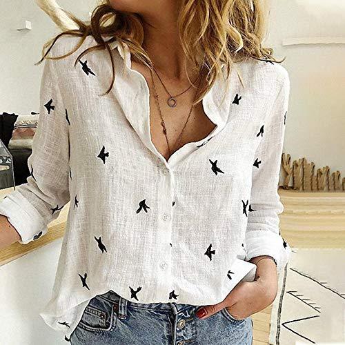 LIYDENG Camisa de mujer con estampado de pájaros de algodón y lino de manga larga para mujer de talla grande 5XL (color: blanco, talla: XXXXXL)