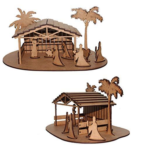Portal de Belén/Nacimiento clásico Fabricado en Madera reciclada MDF de 3mm. Figura Decorativa Navideña. Vive el Espíritu de la Navidad, Montando tu Propio Belén.