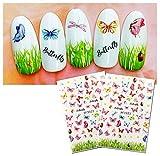 Deesospro® 8 fogli adesivi per unghie Farfalla e crisantemo, adesivi per nail art adesivi...