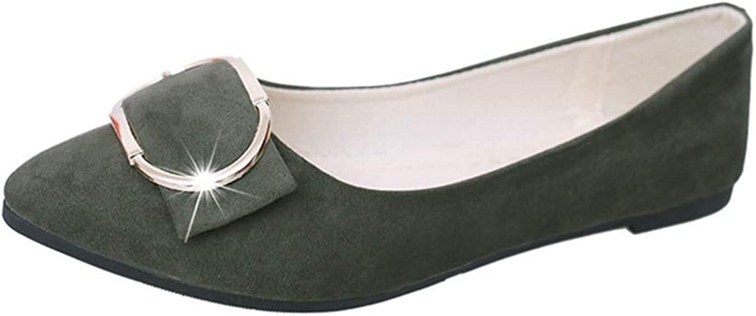 Drew Toby Women's Flats, Elegant Metal Buckle Green Grey Slip-on Peas shoes