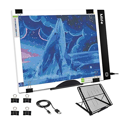 Mlife B4 LED Light Pad Kit - Upgraded Diamond Painting Light Box Dimmable Tracing Light Board, Sketching, Animation, Drawing Light Box with 4 Fasten Clips and Metal Stand