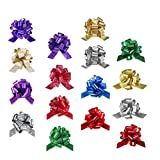 Zoe Deco Pull Bows for Gifts (Mixed Colors, Set of 50), 5' / 13cm Pull-String Bows for Presents, Ribbon-Pull Bows, Gift Wrapping Bows