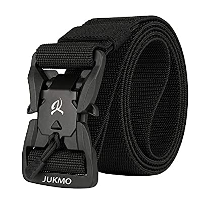 """JUKMO Tactical Belt, Military Style 1.5"""" Nylon Webbing Belt with Magnetic Quick-Release Buckle (Black, Medium)"""