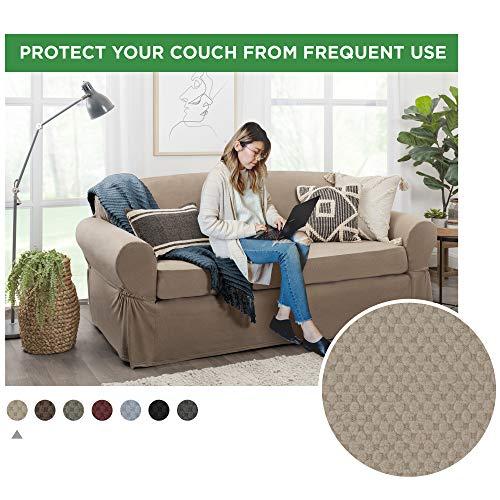 MAYTEX Pixel Ultra Soft Stretch Sofa Slipcover, Sand
