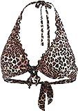 Guess Removable Pad Halter Bikini, Leopardo, ES 32 (DE 30) para Mujer