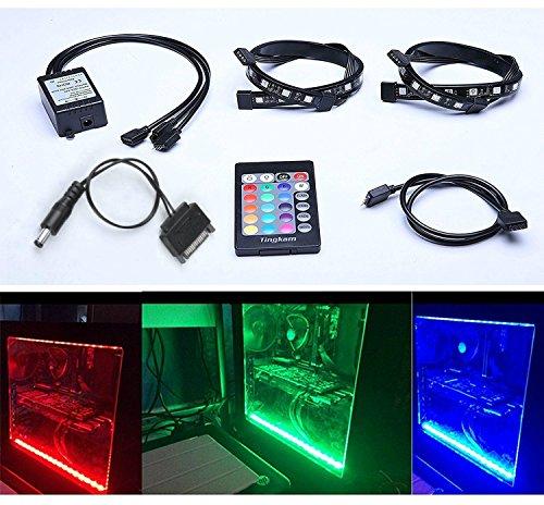 Tingkam Full Kit RGB 5050 SMD 2pcs 18leds 30cm LED Strip Light Attached to Your PC Case via...