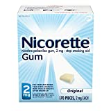 Nicorette 2mg Nicotine Gum to Quit Smoking , Unflavored, Original, 170 Count