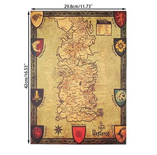 YUVASA Mapa de Juego de Tronos Retro Papel Kraft Decorativo 42x36 cm Game of Thrones Poster Cuadro Calidad Mapa