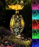 Solar Lights Outdoor Garden Hanging Solar Lantern 2 Mode LED Flower Waterproof Decorative Metal Light for Porch Garden Outdoor Decor, RGB&Warm White
