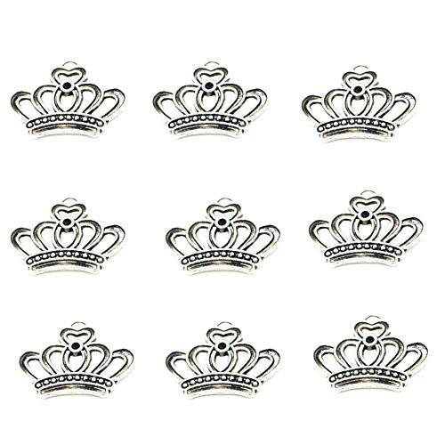 70pcs Vintage Antique Silver Alloy Crown Charms Pendant Jewelry Findings for Jewelry Making Necklace Bracelet DIY 23x18mm (70pcs crown)