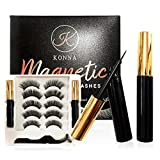 Konna Magnetic Eyelashes and Eyeliner Kit,5 Pairs 2020 Upgraded 5D Natural Look,Waterproof and No Glue Eyelashes with Tweezers