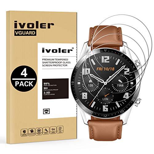 iVoler 4 Pezzi Pellicola Vetro Temperato per Huawei Watch GT2 / Huawei Watch GT 2 46mm [Garanzia a Vita], Pellicola Protettiva Protezione per Schermo per Huawei Watch GT2 46mm