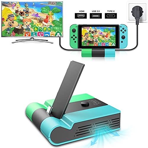 E-MODS GAMING Switch TV Dock, Foldable TV Docking Station Replacement for Nintendo Switch, Portable Charging Stand for Nintendo Switch with 4K HDMI USB 3.0 and Type C Power Ports (Blue+Green)