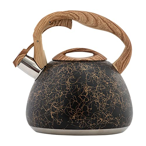 B Blesiya Hervidor de té con Silbato Premium de Estilo Vintage para Todas Las Estufas Mango ergonómico Utensilios de Cocina de 2.8L Tetera Hervidor de Agua para - Negro