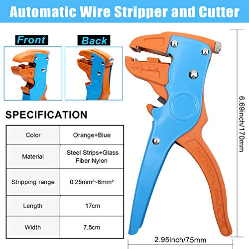 Knoweasy Automatic Wire Stripper and Cutter,Heavy Duty Wire Stripping Tool 2 in 1 for Electronic and Automotive Repair