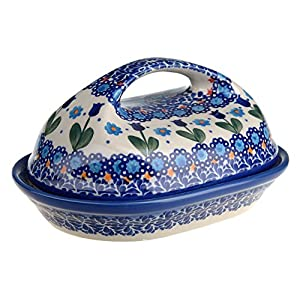 Classic Boleslawiec, Polish Pottery Hand Painted Stoneware, Ceramic Butter Dish with lid, 331-U-006-Q1