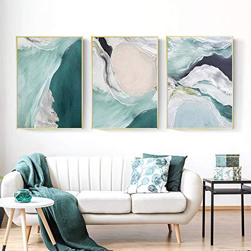 YCHND Nórdico Moderno Verde Oscuro Textura Abstracta mar patrón Lienzo Pintura Cartel impresión Pared Arte Sala de Estar de Lujo hogar Decorativo 40x60cmx3 sin Marco