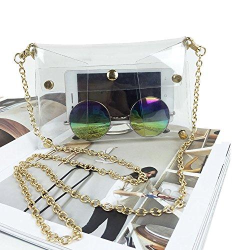 youndcc klar Umhängetasche Messenger Bag Umhängetasche Schulter Geldbörse Crossbody Geldbörse mit verstellbarem Riemen, transparent, wasserdicht, NFL Stadion zugelassen, durchsichtig
