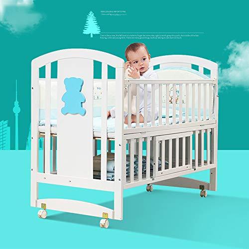 JYXZ Kinderbetten mit Stauraum, Weißes Massivholzbett Babybetten Mit Walze - Umrüstbar auf Kinderbett/Spleißbett