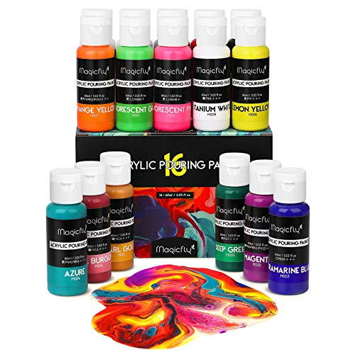 Magicfly 16 Colors Acrylic Pouring Paint(60ml/2oz Bottles), Pre-Mixed High Flow Liquid Acrylic Paint with 3 White Paints for Canvas, Wood, Stone, Ideal for Artwork, DIY Projects