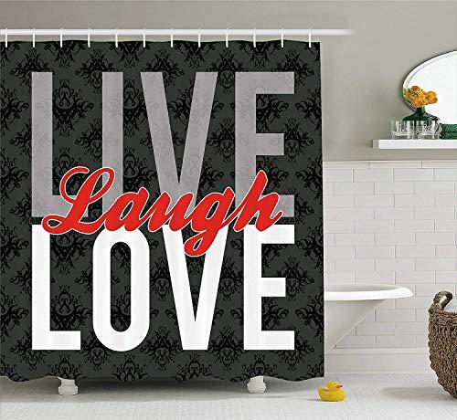 Live Lach Liefde Decor Douche Gordijn, Verschillende Typed Woorden van Wijsheid Victoriaanse Antiek Damask Motieven Tegel, Badkamer Decor Set met Haken, 60 x 72 Inch Lang, Multi kleuren