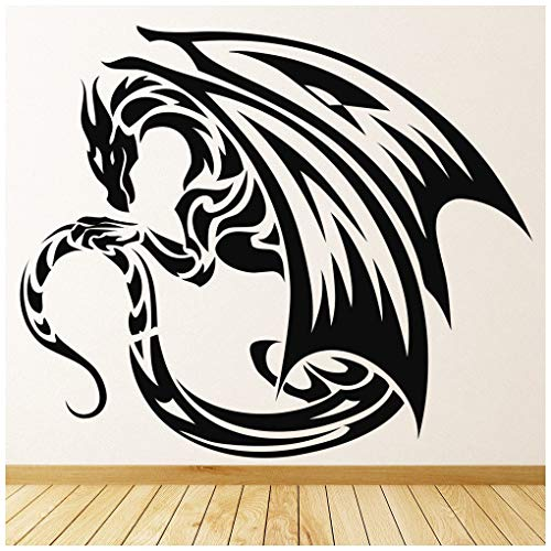 azutura Winged Dragon Wandtattoo Fantasy Tribal Wand Sticker Jungen Schlafzimmer Haus Dekor verfügbar in 5 Größen und 25 Farben Groß Schwarz