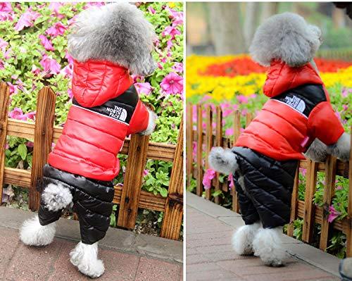 犬服 ドッグウエア ダウンジャケット フード付き つなぎ 中綿 前開き スナップボタン ペット服 犬用防寒着 (S)