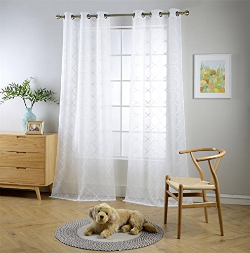 """MIUCO White Sheer Curtains Embroidered Trellis Design Grommet Curtains 63 Inches Long for Living Room 2 Panels (2 x 37 Wide x 63"""" Long) White/Off White Embroidery"""