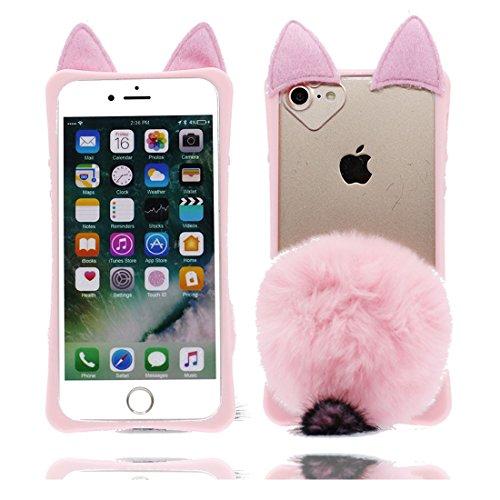 iPhone 6s Carcasa, Caucho de Gel de Silicona a Prueba de Golpes con la Serie Flexible de la Caja Suave de la Historieta de TPU Cover Funda para iPhone 6/6S 4.7', 3D Pompon Fox