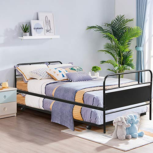 Giantex Twin Daybed and Trundle Frame Set, Trundle Day Bed with 2 Headboard, Premium Metal Slat Support, Easy Assembly, Sofa Bed with Roll Out Trundle for Living Room, Guest Room, Children Room