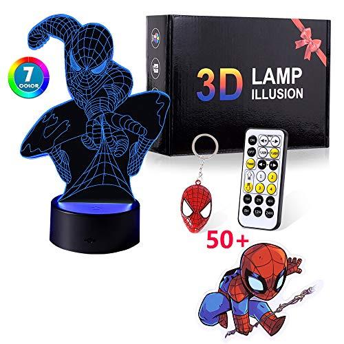 Regalo para niños niños, luz nocturna 3D con 7 colores juguetes para niños de 8 a 12 años de edad, niños y niñas lámpara 3D regalo de cumpleaños edad 7 8 9 10 niños