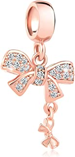 Q&Locket Rose Gold Plated Butterfly Bow-Knot Charms Beads for Bracelets
