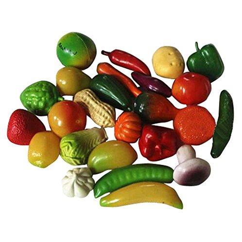 Lot de 25 Jouets de Simulation de Fruits et légumes Cognitive Vivid Simulation
