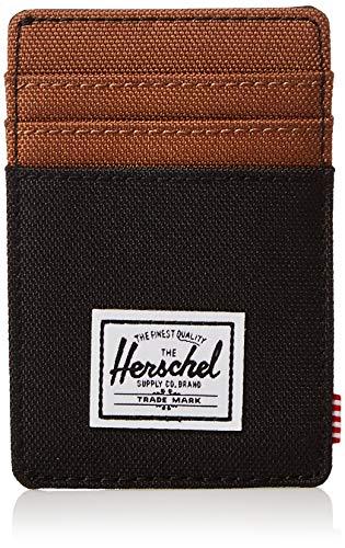 Herschel mens Raven Rfid Card Case Wallet, Black Saddle Brown, One Size US