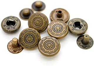 CRAFTMEmore Antique Brass Bohemian Fasteners Popper Snaps Closure Flower Rivet Stud Button Leather Decoration Pack of 10 (1/2