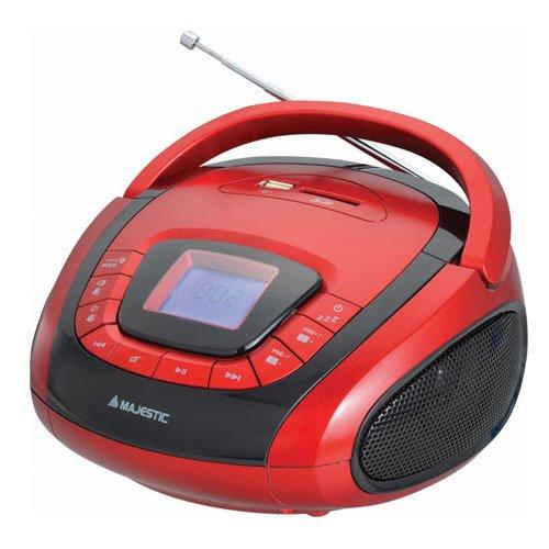 Majestic AH 241 BT MP3 USB SD - Sistema Audio Bluetooth, Ingressi USB/SD, Radio PLL, allarme e radiosveglia, doppia alimentazione: AC 230V e a batterie, Rosso