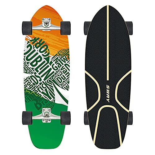 CUTEY Patinaje de 29.53 Pulgadas, Tabla de Surf de Surf Professional, Terreno de la Calle City Cruiser Patineta Completa, Regalos para Adultos, niños, surfistas,No. 2