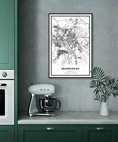 Plakat öLgemäLde Leinwand GemäLde Dekoration Wandmalerei Marrakesch Stadtplan Poster 50 * 75cm (Kein Rahmen) Druck Auf Leinwand Kunst Bild Poster Dekoration Wand
