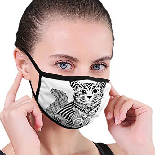 Mundschutz Outdoor Gesichtsschutz für Frauen Waschbare und Wiederverwendbare Zeichnung Zentangle Katze Malvorlagen Effekt Logo Dekoration