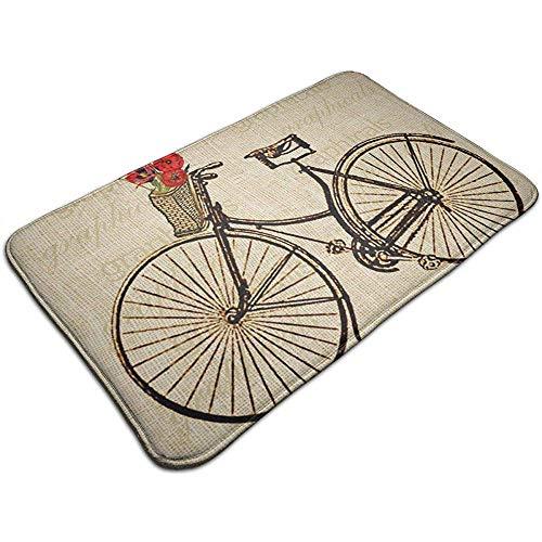 Vintage fiets fiets met bloemen foto deurmat ingang vloermatten met anti-slip achterkant, gemakkelijk schoon 40x60 cm