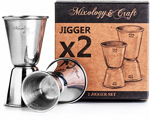 Bar Jigger Set for Bartenders | Double Jiggers Shot Pourer Measuring Tool | 2x Cocktail Jigger Stainless Steel Holds ½ oz to 1⅓ oz | The Best Liquor Measuring Tools for Perfect Cocktails