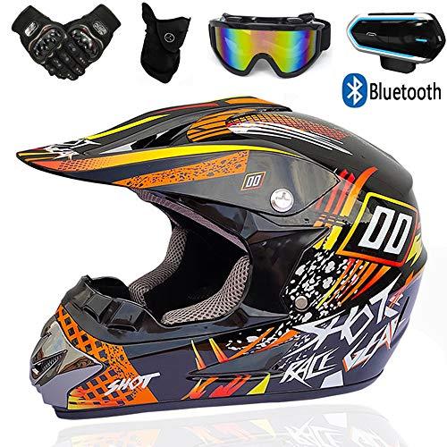 YASE Motocross Helme mit Bluetooth-Kopfhörer, Professionell Enduro Helme Crosshelm mit Motorrad Handschuhe Schutzbrille Gesichtsmaske, Herren Kraftrad Downhill Offroad-Helm,Orange,L