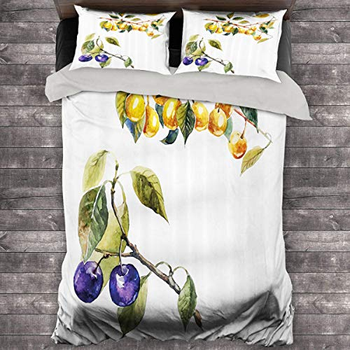 Miles Ralph Tree 3-Piece Duvet Cover Watercolor Style Effect Plum Trees with Branches and Leaves Pattern King Duvet Cover 104'x89' inch Reseda Green Earth Yellow