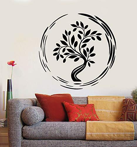 ganlanshu Asian buddhistischen Lebensbaum Vinyl Wandtattoo Schlafzimmer Wohnzimmer entfernbare Aufkleber Familie Dekoration Wandbild 57cmx58cm