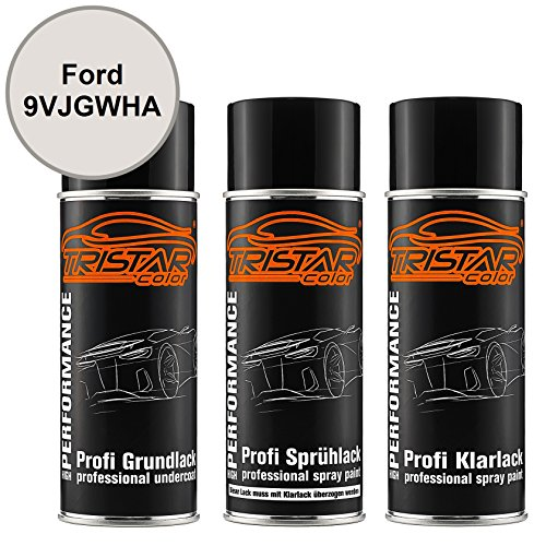 TRISTARcolor Autolack Spraydosen Set für Ford 9VJGWHA White Platinum Metallic/Arktis Weiss Metallic Grundlack Basislack Klarlack Sprühdose 400ml