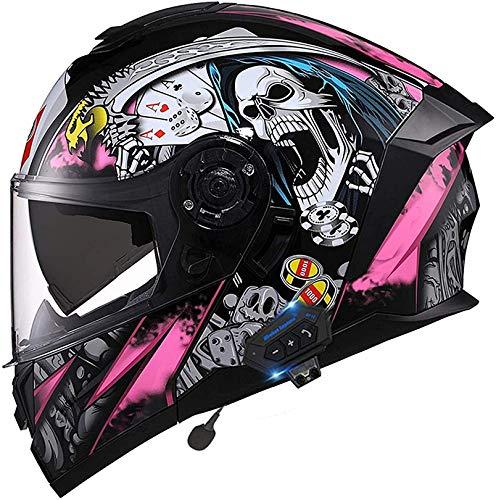 WUDAXIAN Bluetooth Motorrad hochklappbarer Integralhelm, Anti-Fog-Doppelobjektiv Modular DOT-zertifizierte Motocross-Rennhelme Eingebautes Bluetooth-Headset mit Zwei Lautsprechern und Mikrofon (54-60